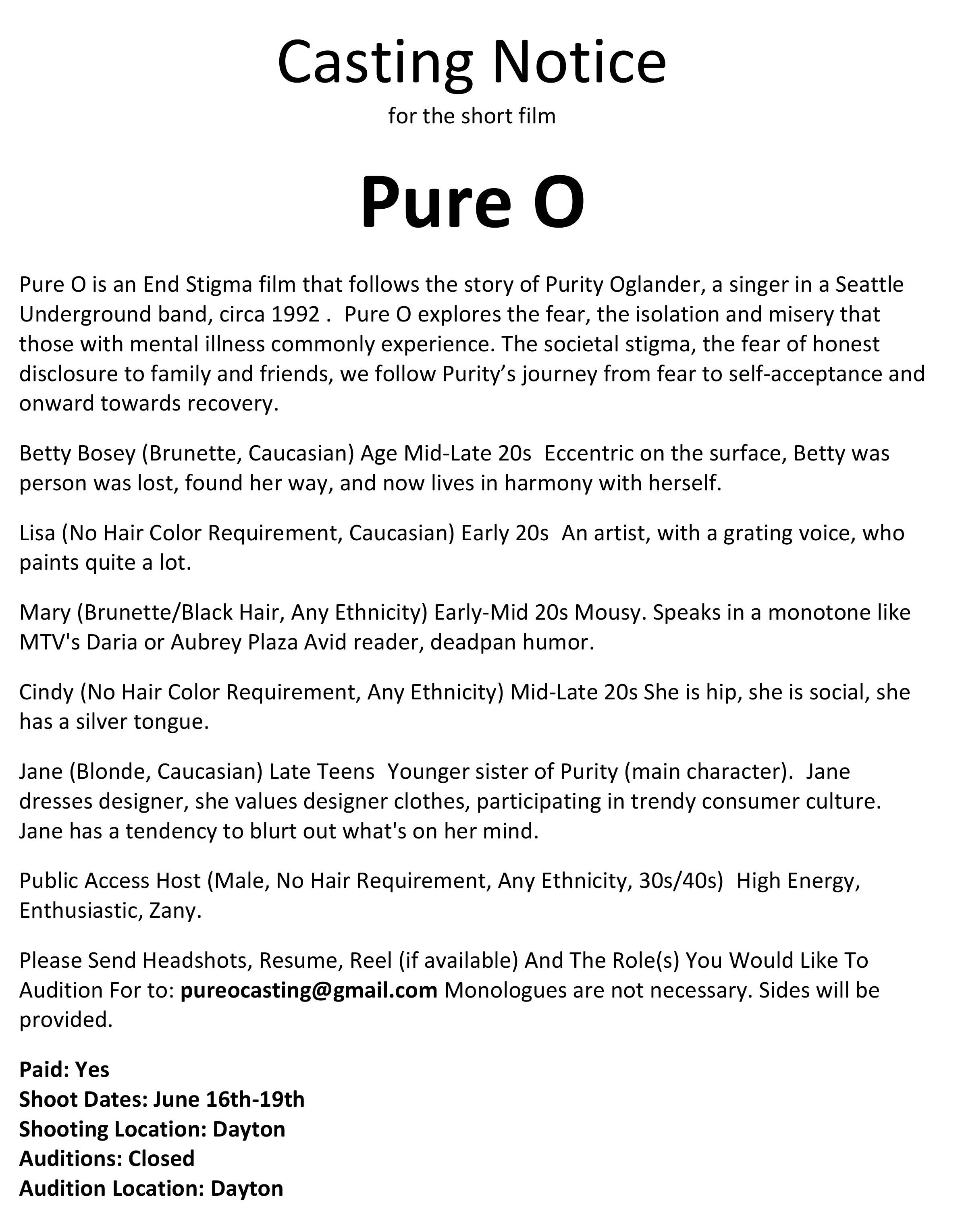 FILMDAYTON_WEBSITE_crew/casting calls_Casting Notice Pure O